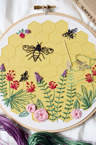 Embroidery Kit Bee Lovely, DIY Supplies Included