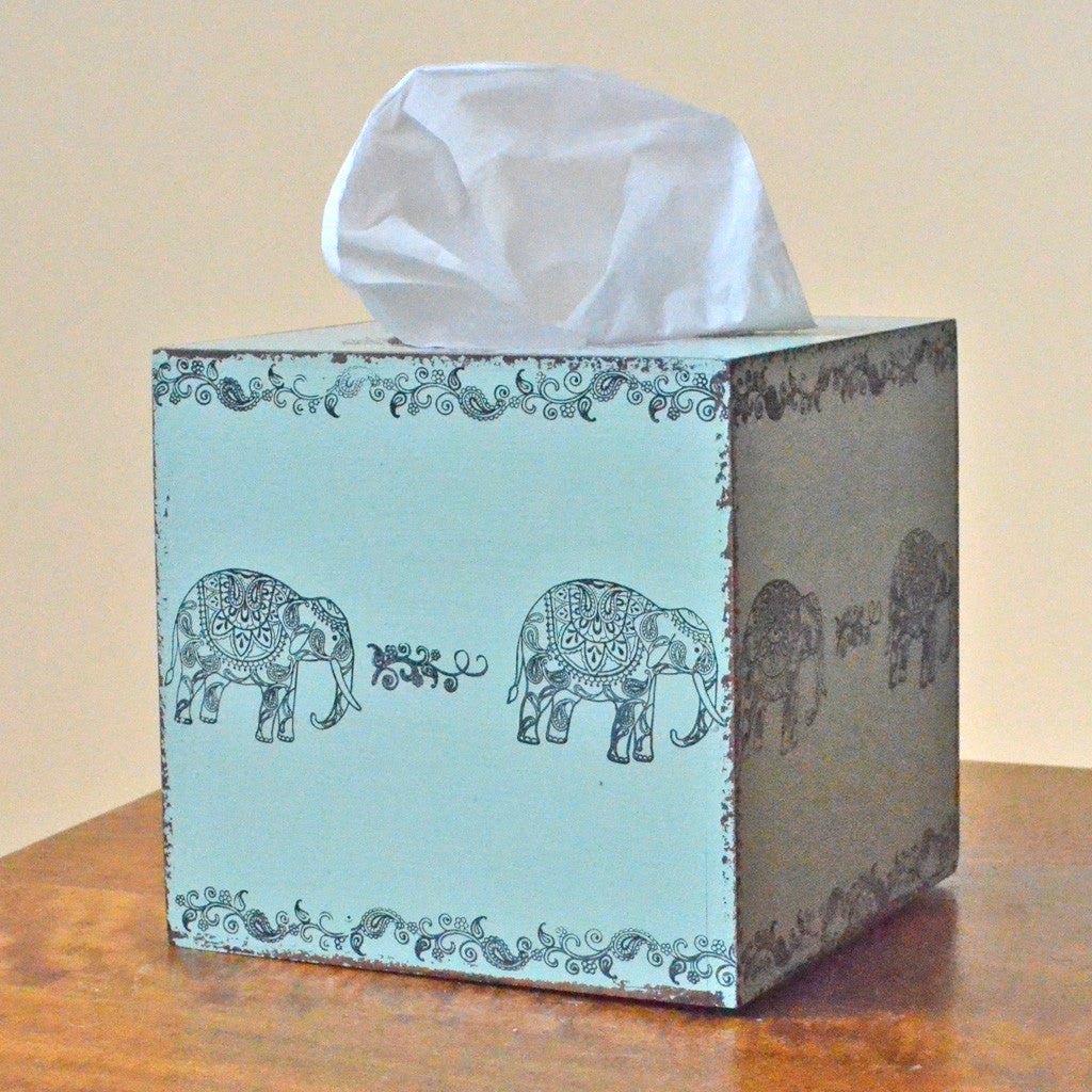 Elephants Tissue Box Cover, Wooden tissue box cover,elephant print