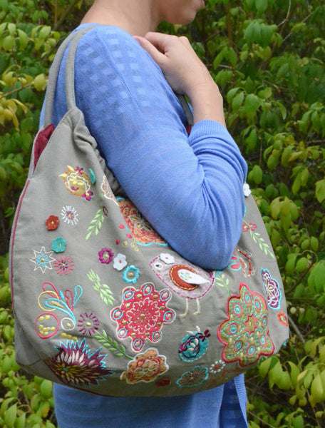 Embroidered Bag handcrafted on model shoulder