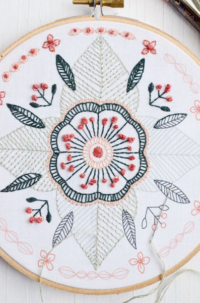 embroidery kit floral mandala design, detail of pattern and stitching