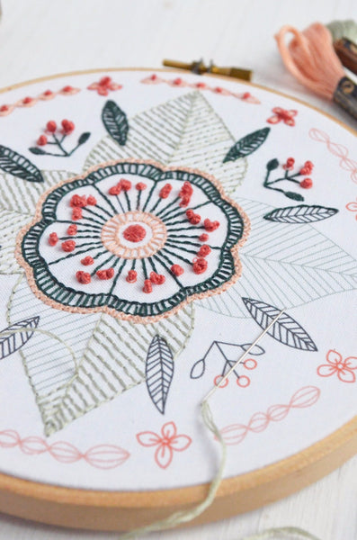 embroidery kit floral mandala design, detail view
