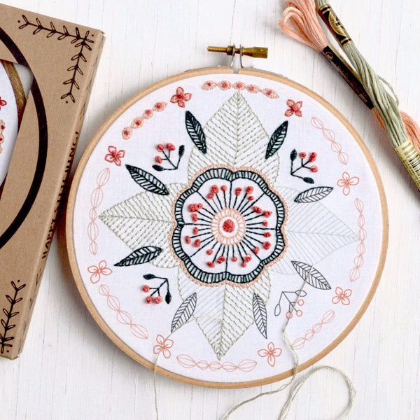 embroidery kit floral mandala design