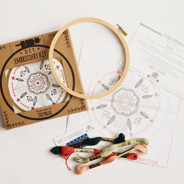 embroidery kit floral mandala design, kit components shown