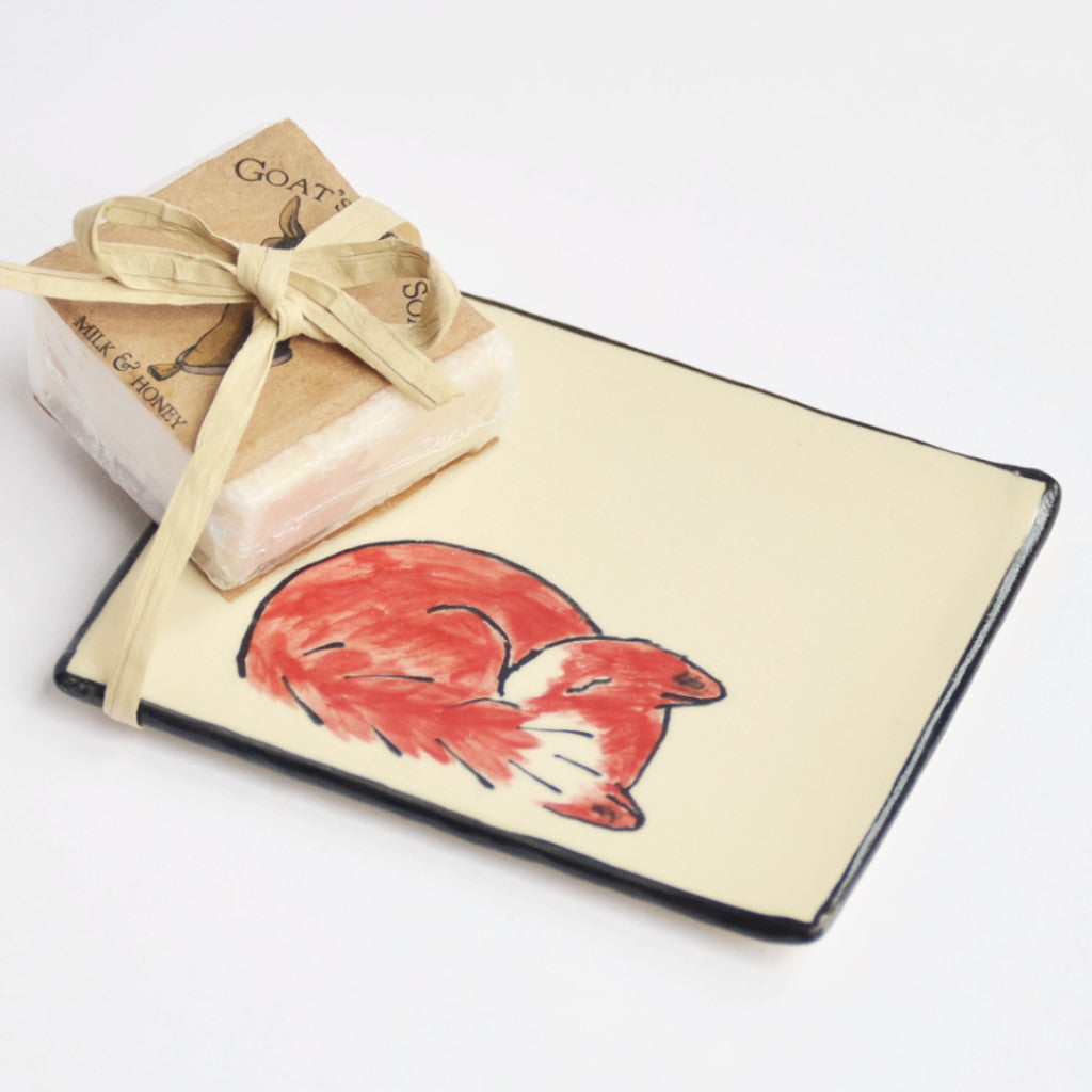 Sleeping Fox Tray and Soap Gift Set