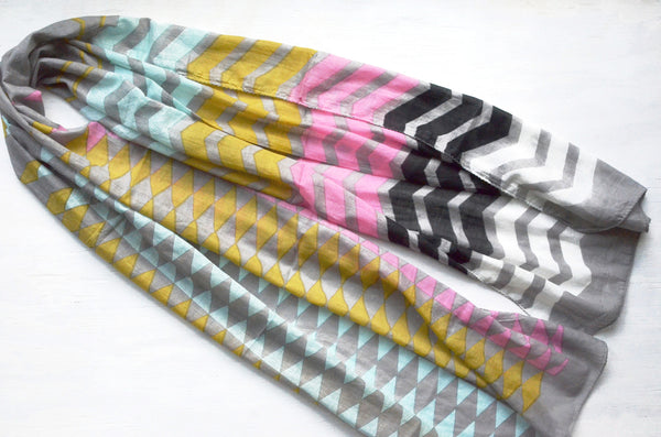 Geometric Print Scarf cotton with black white pink blue mustard