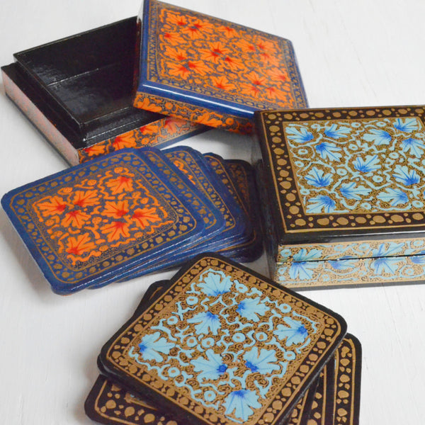 hand painted coasters,set of coasters in a box, orange or blue paper mache