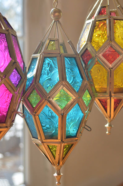 colorful patterned glass hanging lanterns