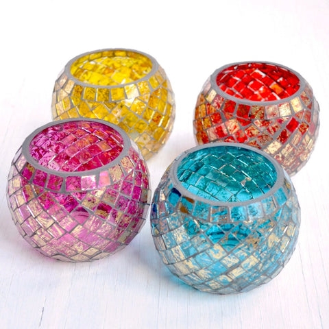 glass mosaic tea light candle holders, four color options