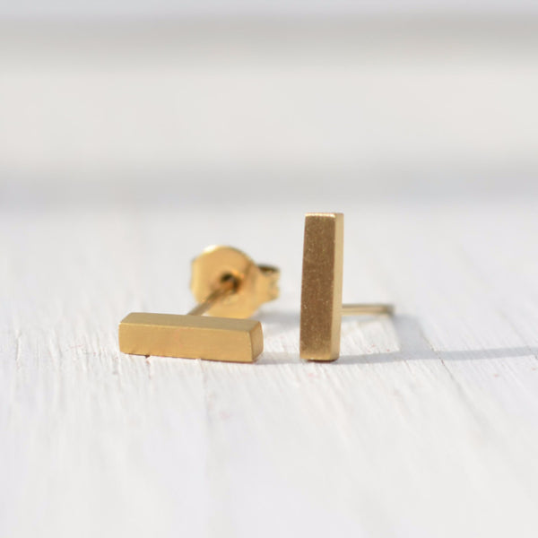 gold bar stud earrings modern handcrafted jewelry