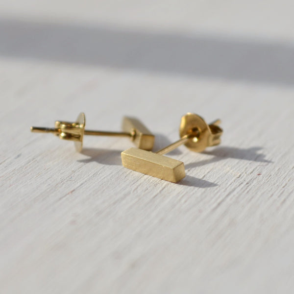 modern gold bar stud earrings