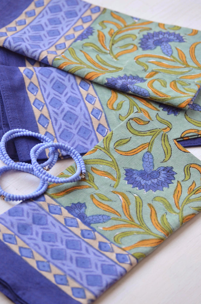 Cornflower Block Printed Napkin Gift Set