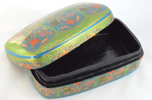 Hand Painted Decorative Box | Keepsake box, paper mache from Kashmir, open view