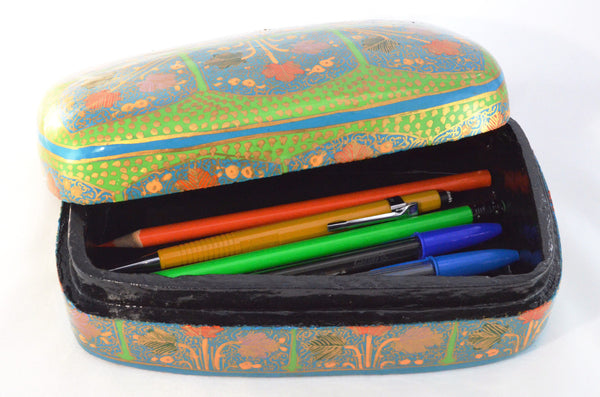 Hand Painted Decorative Box | Keepsake box, paper mache from Kashmir, shown with pens