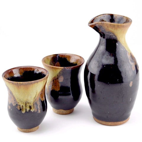 handmade ceramic sake set, black and cream color