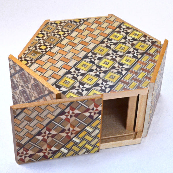 puzzle box | japanese puzzle box with open panel, koyosegi pattern