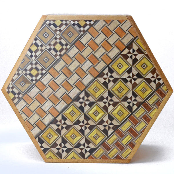 puzzle box | japanese puzzle box, hexagon shape and koyosegi pattern