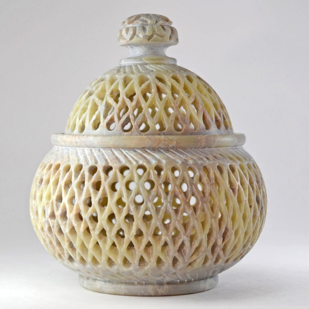 Jali Soapstone Jar | Handcrafted, Hand Carved,Fair Trade,Unique Gift