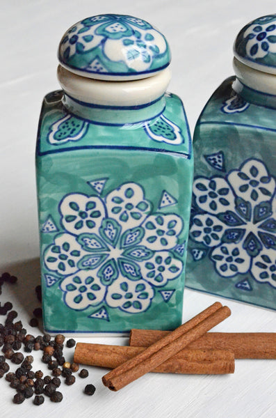 Hand Painted Ceramic Jars Set of 3 Gift Set With Spices