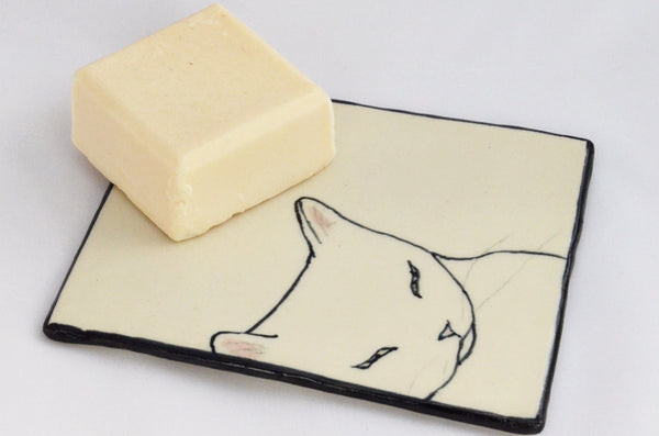Sleepy Kitty Tray and Soap Gift Set