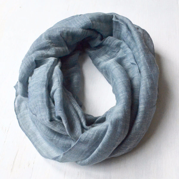 Slate Blue Infinity Scarf handwoven from linen and silk
