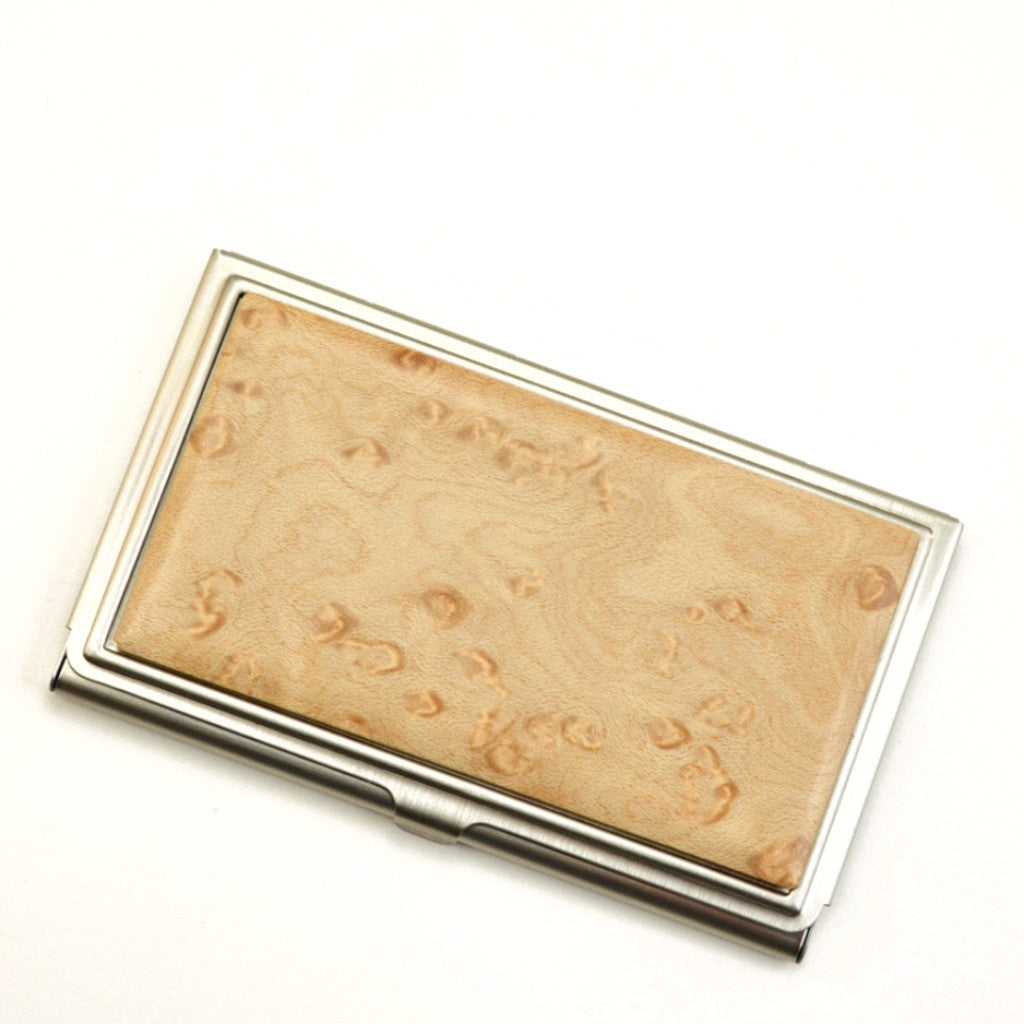 business card case, birds eye maple wood top, brushed steel