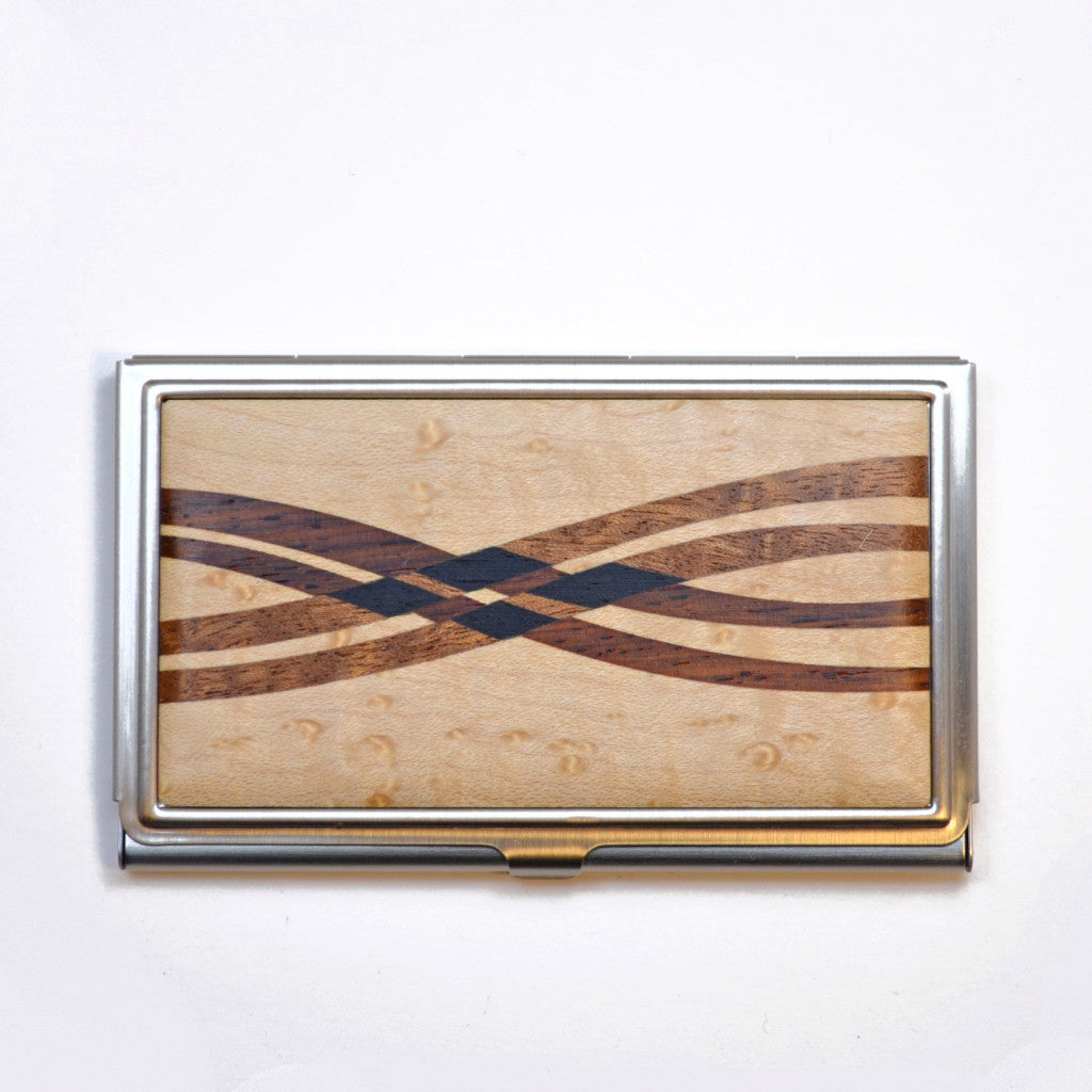business card case, birds eye maple and cocobolo wood
