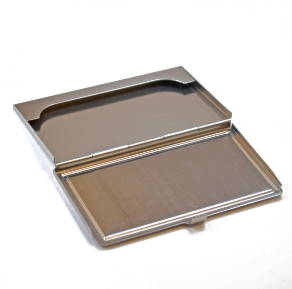 business card case, handcrafted wood inlay top, brushed steel, open view