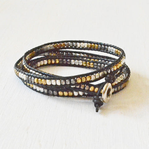 Metallic Beads and Black Cord Wrap Bracelet