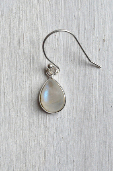 Moonstone and Sterling Silver Earring Detail of French Hook