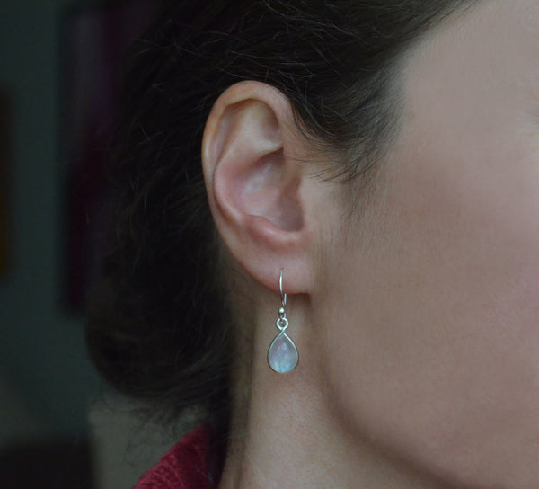 Moonstone and Sterling Silver Earrings on Model