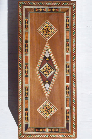 mosaic wood inlay decorative box, top view