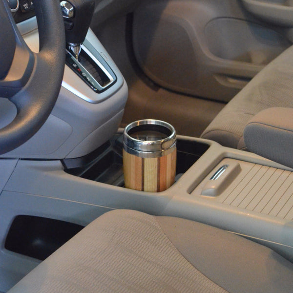 multi-wood travel mug in cup holder