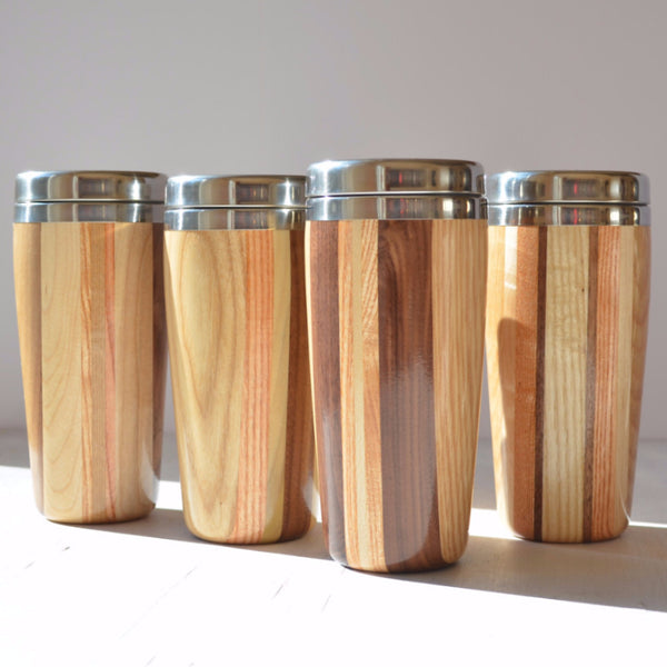 multi-wood handcrafted travel mug, showing variation of hardwoods
