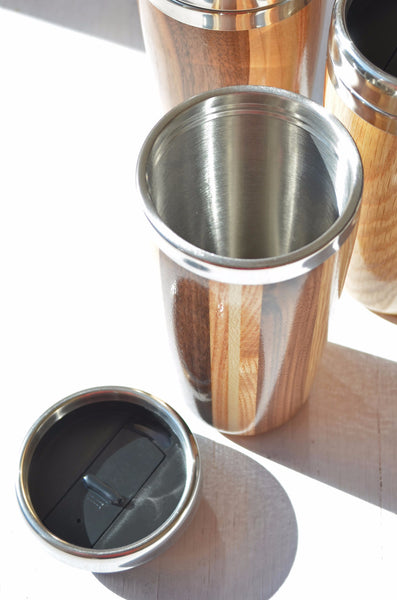 multi-wood travel mug, stainless steel liner shown