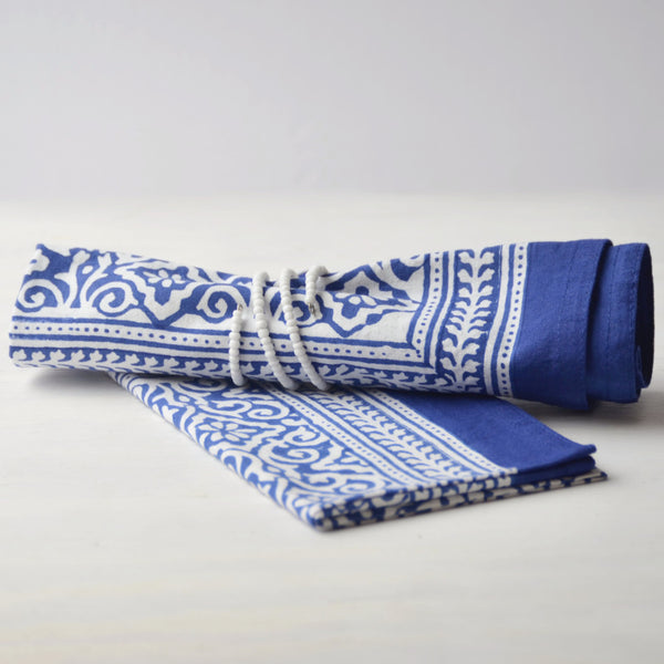 Blue & White Block Printed Napkin Gift Set