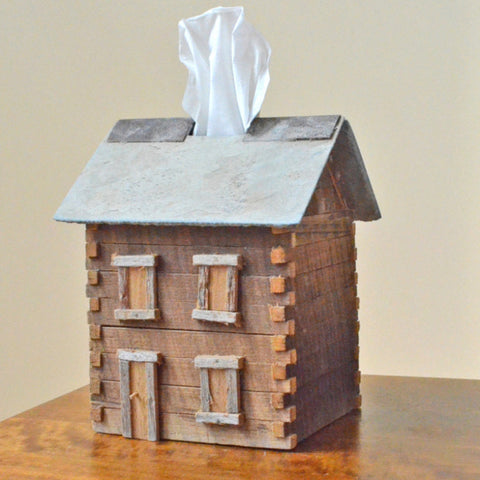 Barn Wood Cabin Tissue Box Cover,Handcrafted reclaimed barn wood