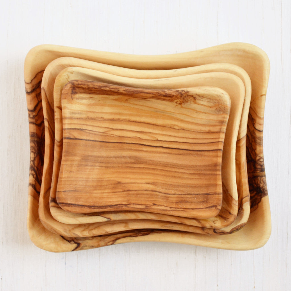 hand-carved olive wood nesting dishes, set of four