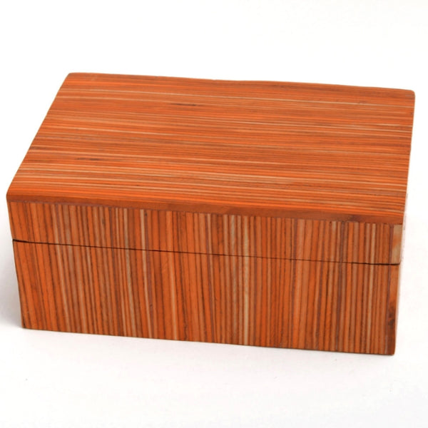 Orange Papri Wood Box - Handcrafted, fair trade & unique gift