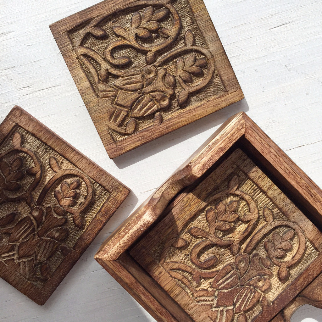 Owl Coaster Set, Hand-Carved Owl Gifts For Him