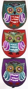 Crewel Embroidery Owl Box | Owl keepsake box, 3 colors shown