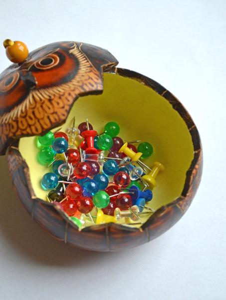 Owl Gourd Box | Owl gifts, keepsake box shown holding pushpins, gourd art