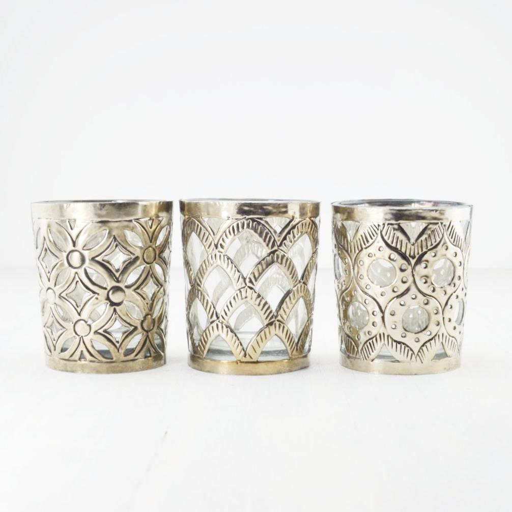 patterned brass boho style tealight holders, set of three