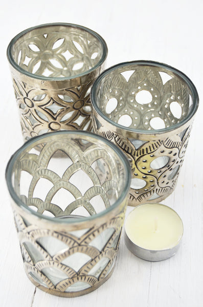 Handcrafted patterned brass tealight holders, set of three