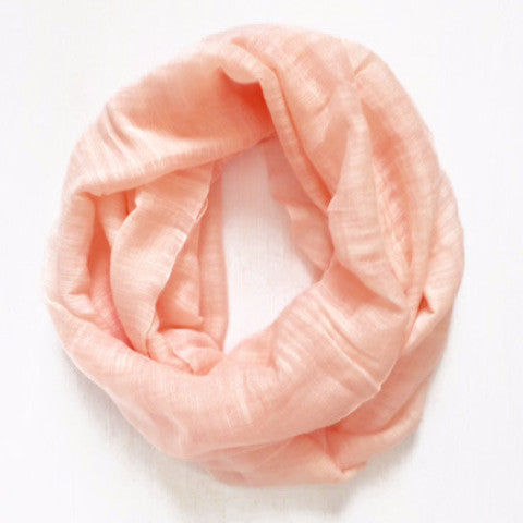 Infinity scarf, peach color, handwoven infinity scarf from Vietnam.
