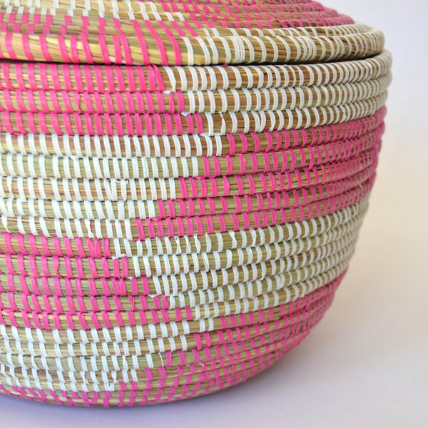 Pink and White Basket | Decorative baskets, Fair Trade, fun baskets