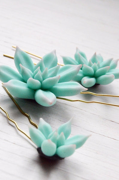 polymer clay succulent hair pins set of three details shown