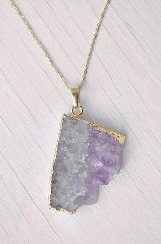 purple crystal and gold edge pendant necklace