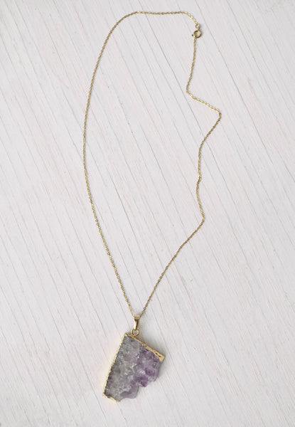 purple and gold crystal pendant necklace with gold chain