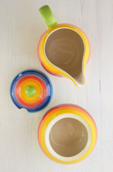 cream and sugar set, rainbow, hand painted ceramic, top view