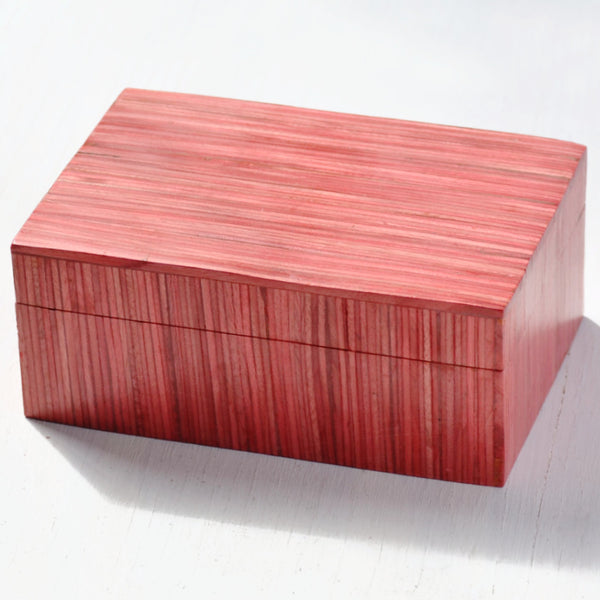 red keepsake box, handcrafted box made from papri wood